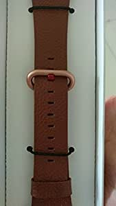 JSGJMY Apple Watch Band 38mm Women Light Brown Genuine Leather Loop Replacement Wrist Iwatch Strap for Apple Watch Series 3 Gold