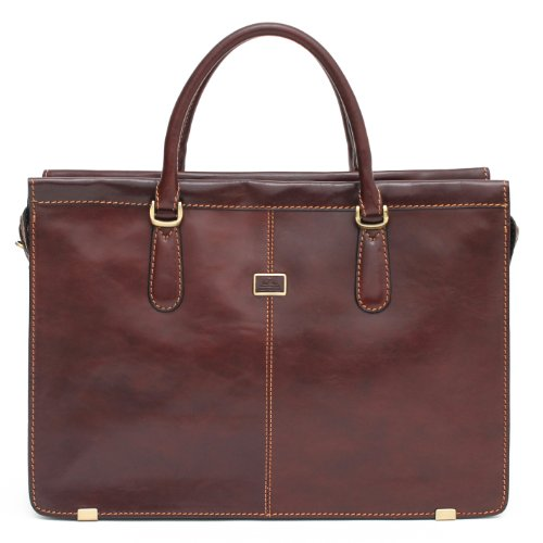 """Italian Leather Business 17"""" Laptop Briefcase Tote with Over The Shoulder Top Handles Double Compartment and Organizational Pockets"""
