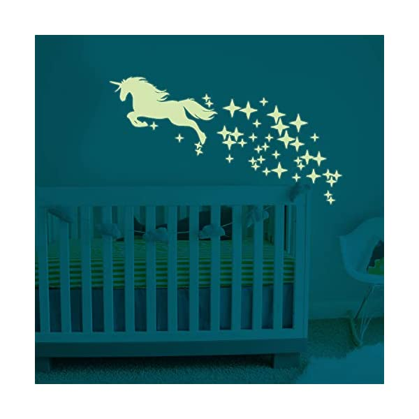 Unicorn Vinyl Wall Decals Glow in The Dark Stars DIY Kids Girls Bedroom Home Nursery Room Wall Mural Decor 6