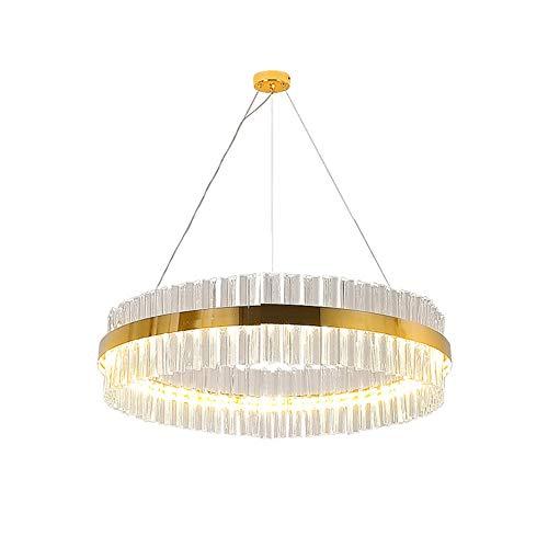TopDeng LED Crystal Luxury Ring Chandelier, 38w Ceiling Light Gold Metal Neutral Light Modern Light Fixture for Living Room Bedroom-60cm