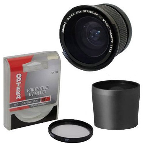 Opteka .35x High Definition II Super Wide Angle Panoramic Macro Fisheye Lens for Panasonic Lumix DMC-FZ70 FZ72 FZ70K Digital Camera Includes Tube Adapter DMW-LA8 With Bonus 67MM High Definition II UV (0) Ultra Violet Haze Multi-Coated Glass Filter Photo Print ! from Opteka