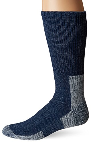 (Thorlos Unisex WLTH Light Hiking Thick Padded Wool Crew Sock, NAVY, XLarge)