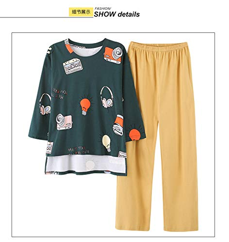 Green Cartoon Manica Set Pigiama Cotone Homewear Print M New In In Lunga Vita Pantaloni Gialli Pigiama Ragazze JYHTG Cute Elastico z45wFxq