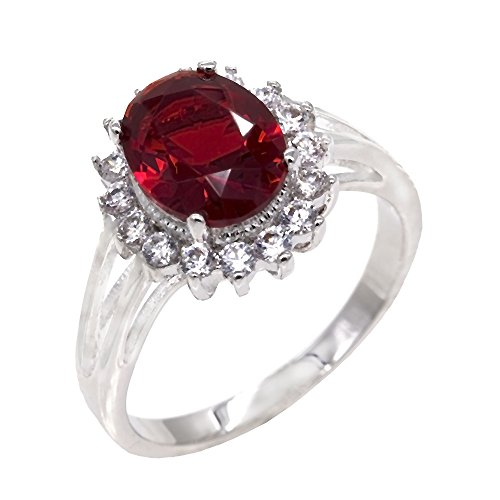 Lavencious Oval Round Ruby CZ Rings Wedding Party Statement Engagement Inspired Cocktails for Woman Size 5-10 (Red, 9)