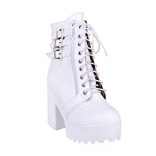 Hauts Avec Bout Blanches Chaussures Fermé Boucle Bloquent Des Bottes Agodor Zip Lacées Travail La Talons À Cheville Femmes Plate forme RwZ475q