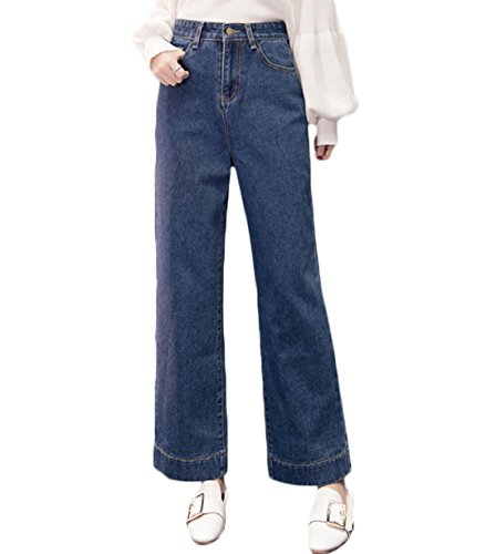 Chartou Womens Fashion Loose Fit High Rise Wide Leg Bell Bottom Pencil Jeans Pants (Blue, - Pencil High Rise Leg