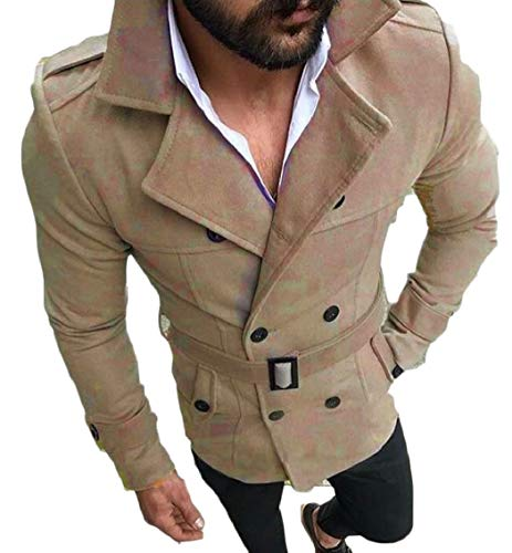 Jacket Double Wool Coat Slim Gocgt Mens Breasted Khaki Trench Collar Blend Uq6pC