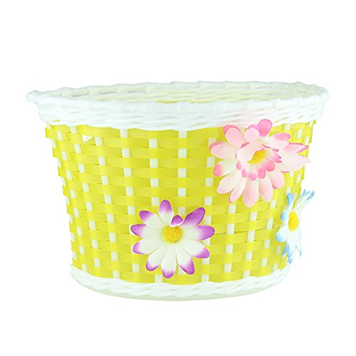 Farway 1PC Kid's Bike Bicycle Basket Front Decoration with 3 Pretty Flowers (Yellow) (Yellow Bike With Basket)