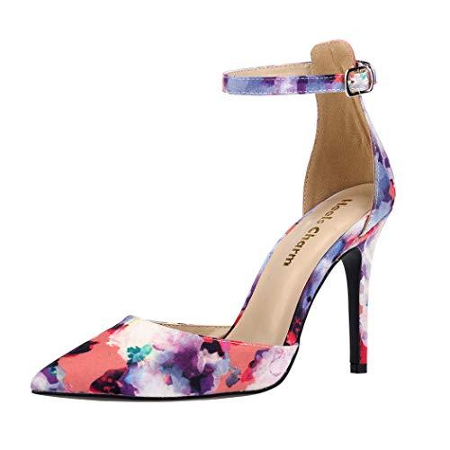 (Women's Heel Pumps Stilettos Pointed Toe High Heel Dress Pump Shoes with Ankle Strap Ribbon Velvet Size 8)