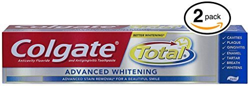 (PACK OF 2 TUBES) Colgate Total ADVANCED TOOTH WHITENING Toothpaste. Whitens & Removes Surface Stains! ANTI-CAVITY FLUORIDE, ANTI-GINGIVITIS & ANTI-PLAQUE! (Pack of 2 Tubes, 8.0oz each Tube) ()