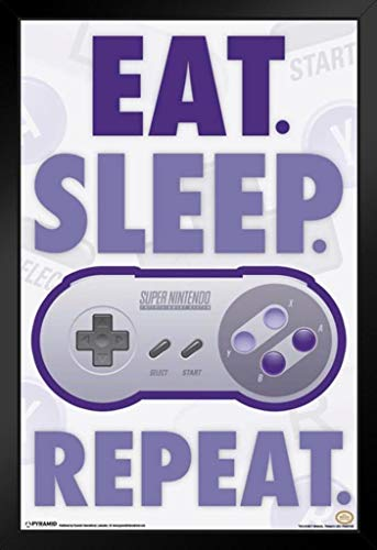 Pyramid America Eat Sleep Repeat Super Nintendo Video Game Gaming Framed Poster 14x20 - Framed Sleep