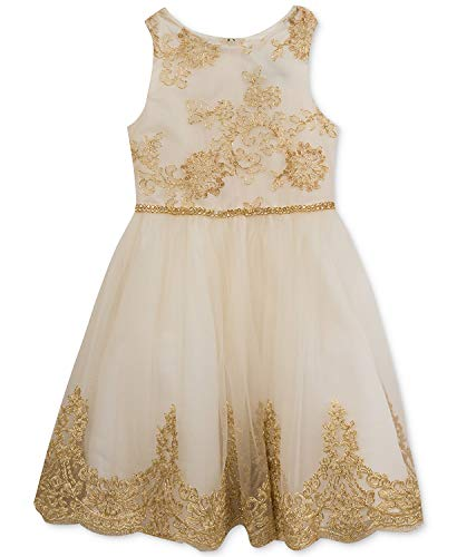 Rare Editions Embroidered Bodice Party Dress, Toddler Girls (Gold, 2T)