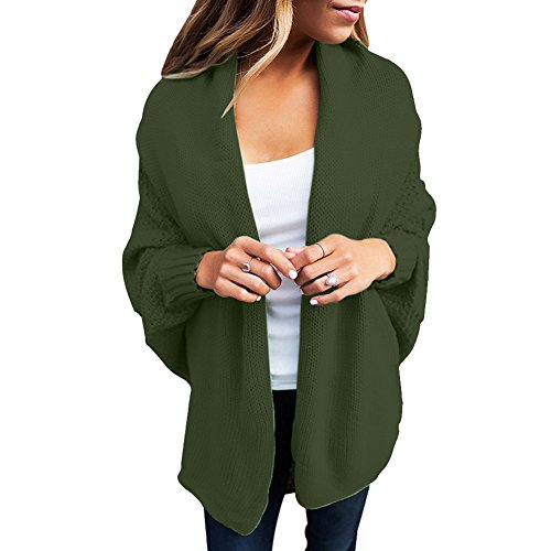 Woman Casual Woman Knit Cardigan Coat (Green) - 9