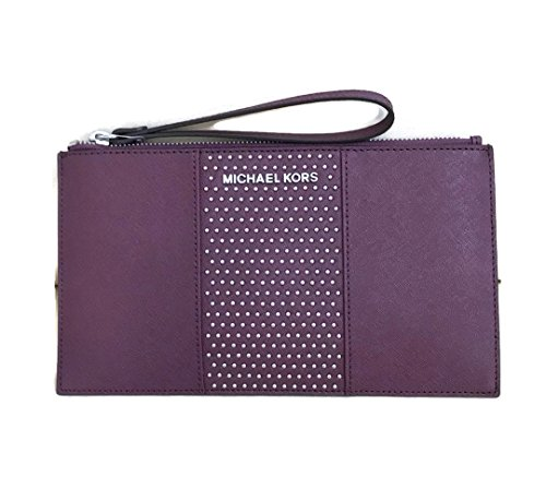 Michael Kors Saffiano Leather Micro Studded Clutch Wristlet (Plum) by Michael Kors