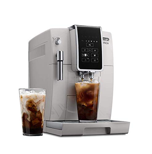 DeLonghi Dinamica Super Automatic Burr Grinder Coffee & Espresso Machine w/TrueBrew Over Ice (Iced Coffee), White – ECAM35020W