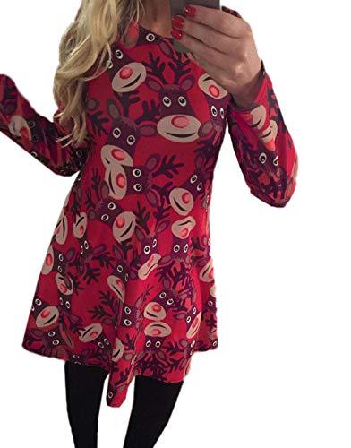 Da Rotondo Collo Partito Primavera Vestito Stampa Manica Donna Lunga Autunno Natale Corto Casual Festa Moda Vestiti Abito 08PvOymNnw