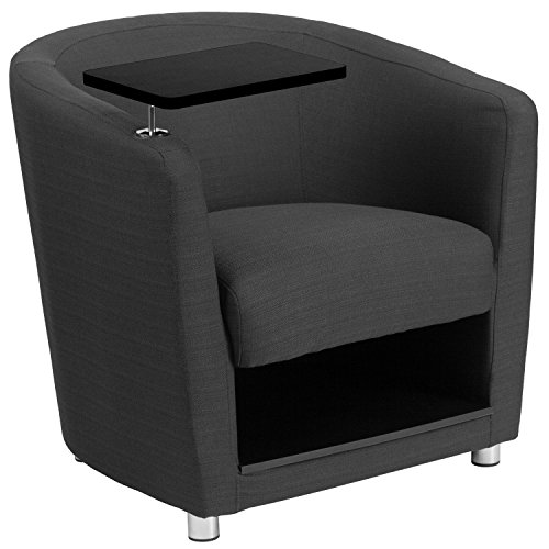Flash Furniture Charcoal Gray Fabric Guest Chair with Tablet Arm, Chrome Legs and Under Seat ()