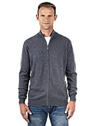 UGHOLIN Men's 100% Pure Cashmere Full-Zip Mock Neck Cardigan