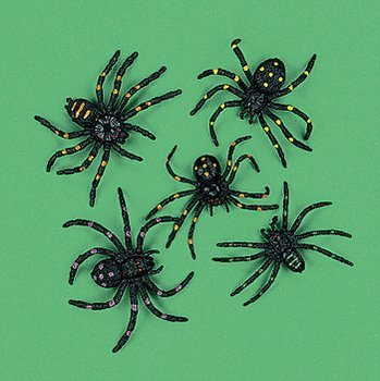 Strechy and Scary Two-inch Plastic Spiders (Set of 12)