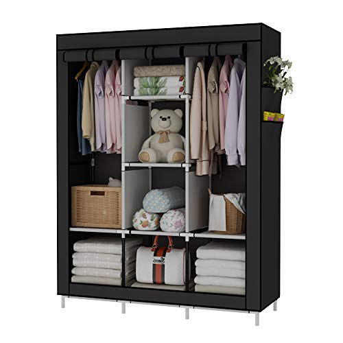 UDEAR Portable Wardrobe Closet Clothes Organizer No-Woven Fabric Cover with 6 Storage Shelves, 2 Hanging Sections and 4 Side Pockets,Black