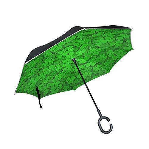 All agree Inverted Umbrella Clover Green Reverse Umbrella UV Protection Windproof for Car Rain Sun Outdoor Black
