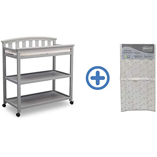 (Delta Children Arch Top Changing Table with Casters, Grey and Waterproof Baby and Infant Diaper Changing Pad, Beautyrest Platinum, White)