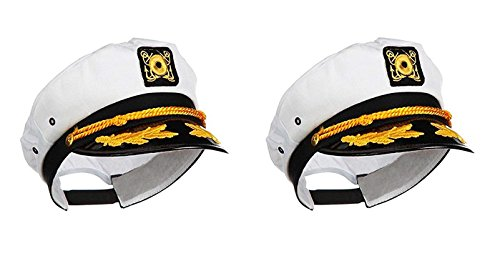 Ifavor123 Sailor Captain Yacht Adjustable Snapback Cap Boat Halloween Hat - 2 Pack -