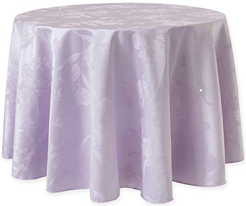 - Spring Splendor Easter Tablecloth Lilac Purple Damask Pastel Floral Polyester Fabric Tablecloth (70