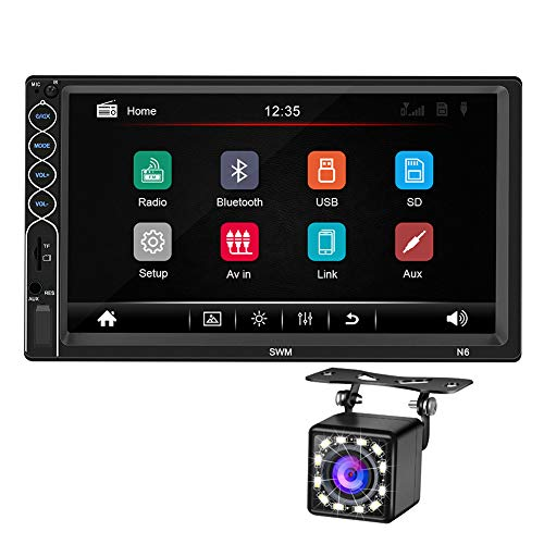 Double Din 7 Inch Car FM Radio MP5 Player, 2 Din Touch Screen in-Dash Stereo Car Audio System Autoradio with Bluetooth Hand Free, Rear-View Camera, Phone MirrorLink Interconnection (Stereo Systems For Cars)