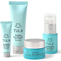 TULA Probiotic Skin Care Healthy Glow Starter Kit - Travel-friendly Facial Cleanser, Day & Night Moisturizer, Illuminating Serum & Eye Cream for Glowing and Youthful Skin