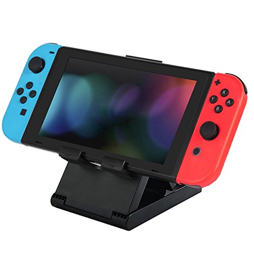 【Clearance sales】Stand for Nintendo Switch, AttoPro Compact Foldable Multi-angle Adjustable Portable Durable Playstand Bracket Holder for Nintendo Switch Player 2017, Black