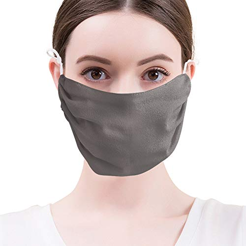 Gracelife Women's Double Layer Dust Mask Anti UV Breathable Natural Mulberry Silk Mouth Mask Adjust Ear Loop Soft Skin-Friendly Solid Color ()