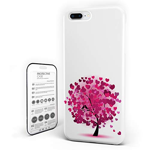 (Customize Phone Protective Cover Tree of Life Ornate Tree with Swirling Hearts Doodles Decorative Ultra Slim Protective Hard Plastic Case Cover for iPhone 7 Plus/8 Plus)