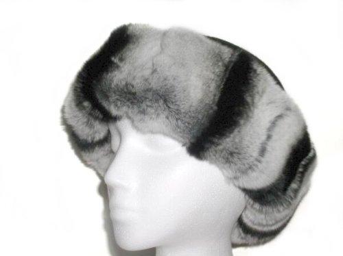 Rex Chinchilla Cuffed Hat w/Black Round Felt Crown by FursNewYork