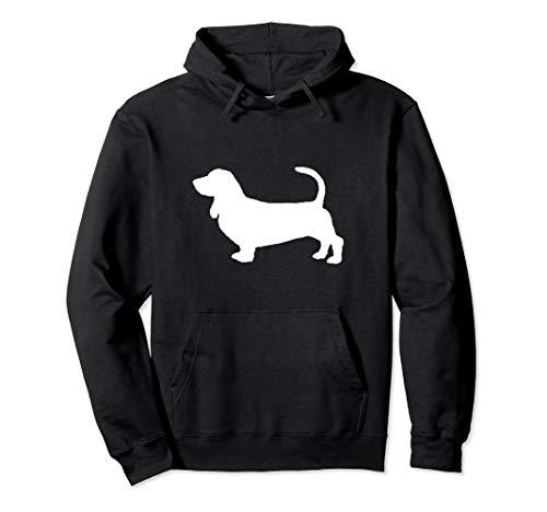 Basset Hound Dog White Silhouette Hoodie