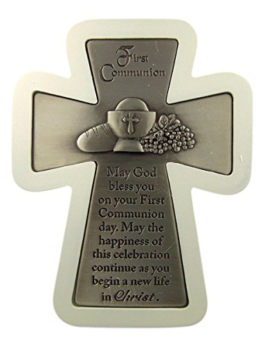 (First Communion Pewter Engraved Standing Cross in Wood White Frame, 6 Inch)
