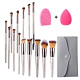 Miserwe 17Pcs Makeup Brushes Set Professional Cosmetic Brushes with Makeup Sponge Brush Cleaner and Travel