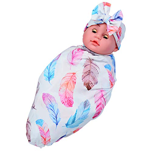 Bigface Up Newborn Baby Receiving Blanket with Headband Floral Swaddle Feather