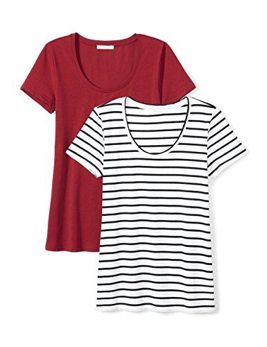 (Amazon Brand - Daily Ritual Women's Stretch Supima Short-Sleeve Scoop Neck T-Shirt, Navy-White Stripe/Deep Red,)