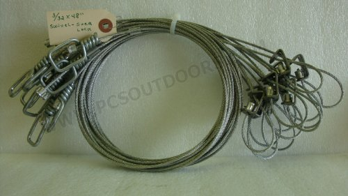 ausable-4-ft-3-32-raccoon-small-fox-snare-with-sure-lock-wire-swivel-end-1-dozen