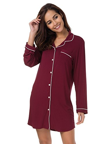 Ladies Woman Nightshirts (SIORO Women's Pajama Shirt Plus Size Long Sleeve Pajama Dress Ladies Nightshirts Cotton Pajama Top Baggy Style Nightgown Sleeping Shirt Sleepwear Knee Length Soft Loungewear for Women Burgundy XL)