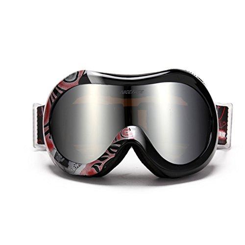 SE7VEN Lunettes De Neige Unisexe,Lentille Double Couche Coupe-vent Anti-buée Lunettes De Ski Snocross Escalade J
