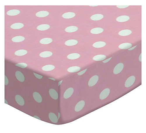SheetWorld Extra Deep Fitted Portable Mini Crib Sheet - Pastel Pink Polka Dots Woven - Made In USA by SHEETWORLD.COM