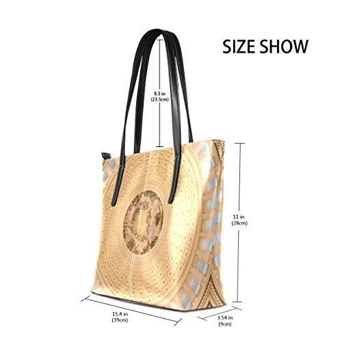 Shoulder Tote Purse Handbags Satchel Women's Handle Large Bags Roof Bennigiry Top Gold nwpqP8Pva