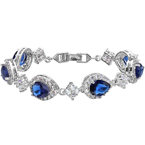 EVER FAITH Silver-Tone Full Zircon Wedding Tear Drop Link Bracelet Blue Sapphire-color