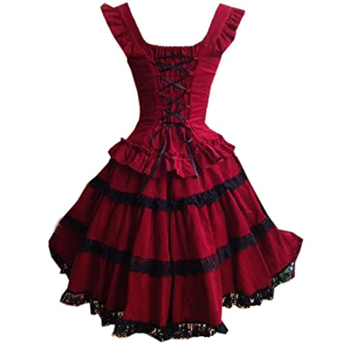 Damen Layer Multi Rot Damen Aermellos Gotisches Partiss Suesses Lolita Kleid w4qPAR6gH