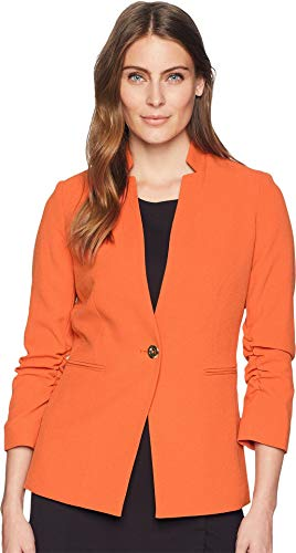Tahari ASL Women's Crepe One-Button Rouched Sleeve Jacket Orange 14 by Tahari ASL
