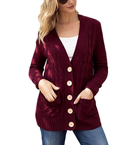 Eternatastic Womens Knit Cardigans Button Cable Sweater Coat Pullover Top XXL Red -