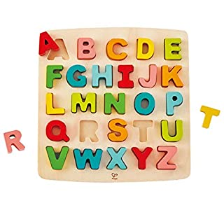 Hape Alphabet Blocks Learning Puzzle | Wooden ABC Letters Colorful Educational Puzzle Toy Board for Toddlers & Kids, Multi-Colored Jigsaw Blocks, 5'' x 2''
