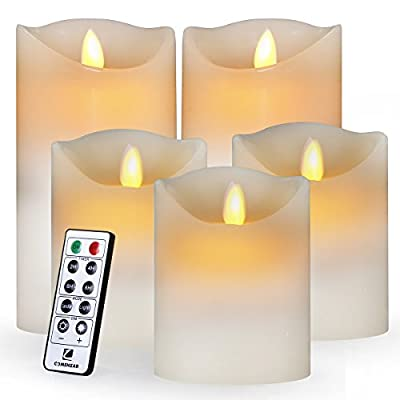 "comenzar Flameless, Led Realistic Moving Set of 5(H4 4"" 4"" 6"" 6"" xD3.25) Flickering Candles with Remote Timer(Batteries not Included) (Ivory)"